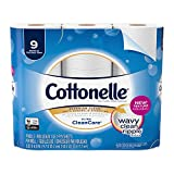 Cottonelle Ultra CleanCare Toilet Paper, Strong Biodegradable Bath Tissue, Septic-Safe, 9 Big Rolls