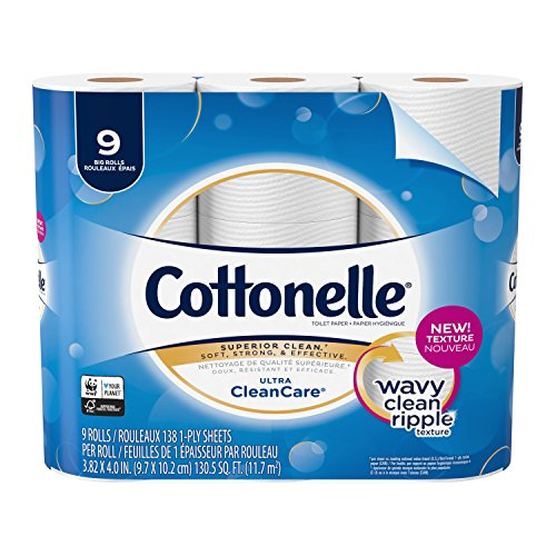 Cottonelle Ultra CleanCare Toilet Paper, Strong Bath Tissue, 9 Big Rolls