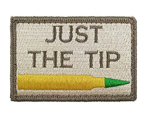 Just The Tip M855 Penetrator Funny Hook and Loop Fully Embroidered Morale Tags Patch (Subdued) (Comedy Tips)