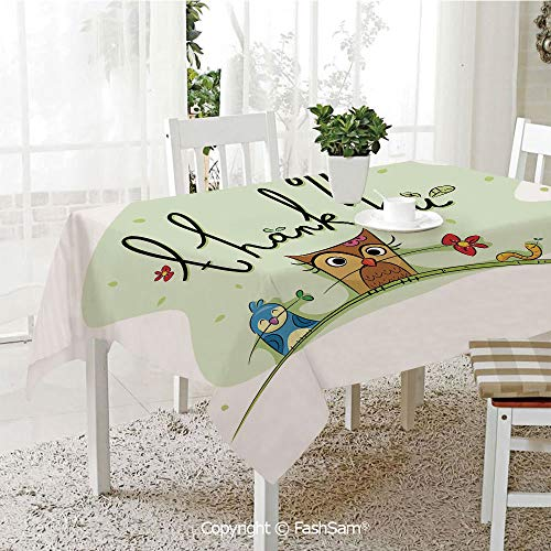 FashSam Tablecloths 3D Print Cover Chubby Little Birds Owl Worm and Sparrow and Flowers with Thank You Quote Art Party Home Kitchen Restaurant Decorations(W55 xL72)