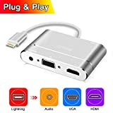 Lightning To HDMI/ VGA /Audio Adapter Converter Cable with Micro USB Charging Cable + 3.5mm Audio Port for iPhone 5/6/6S/7Plus/iPad/iPod (Lightning port must be connected)