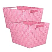 DII Durable Trapezoid Woven Nylon Storage Bin or Basket for Organizing Your Home, Office, or Closets (Basket - 12x10x8 ) Pink - Set of 2