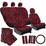 zebra car accessories interior - OxGord 21pc Set Zebra Car Seat Cover, Carpet Floor Mat, Steering Wheel Cover, Shoulder Pad Set - Universal Fit, Truck, SUV, or Van - Red