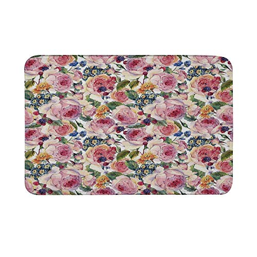 TecBillion Shabby Chic Decor Non Slip Door Mat,Country Design with Flowers Florals Roses Orchids Buds Romantic Print Floor Mat for Bathroom Living Room,23