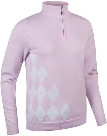 d5316a26a63 Glenmuir Ladies  LKC2478ZN Zip Neck Offset Diamond Golf Sweater