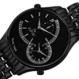 August Steiner Men's AS8141BK Black Dual Time Zone Quartz Watch with Black Dial and Black Bracelet