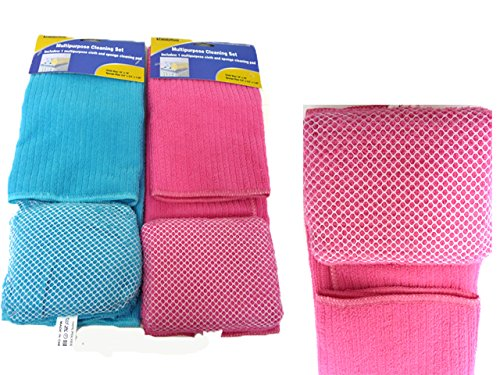 MICROFIBER CLOTH+SPONGE W/NET, Case of 96 by DollarItemDirect