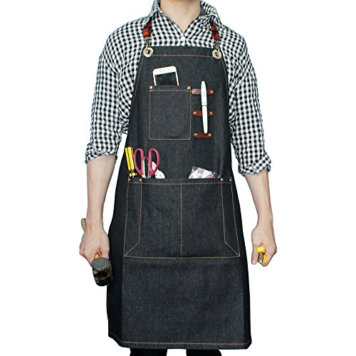Boshiho Denim Jean Work Apron - Adjustable Bib Chef Apron Barber Apron - Utility Shop Tool Apron with Cross-back Leather Straps (B)
