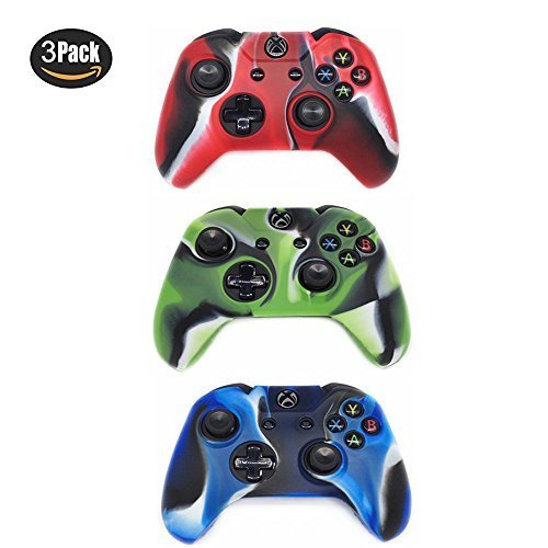 Xbox One Controller Protective Case, CALLANY 3 Pack Soft Anti-slip Silicone Controller Cover Skins with Thumb Grips Set