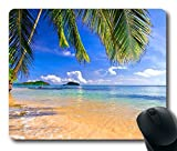 Gaming Mouse Pad Shore Palms Tropical Beach Oblong Shaped Mouse Mat Design Natural Eco Rubber Durable Computer Desk Stationery Accessories Mouse Pads For Gift Support Wired Wireless or Bluetooth Mouse
