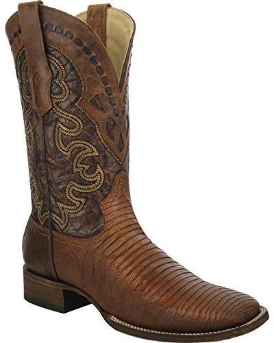 Innhegningen Mens Firfirsle Cowboy Boot Bredt Firkantet Tå - A3094 Tan