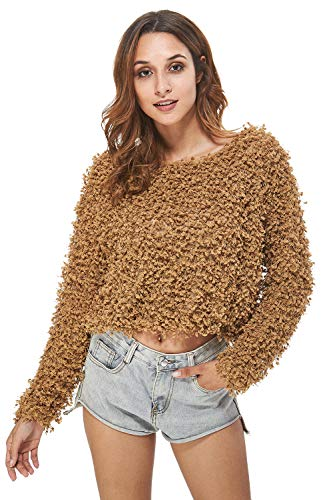 - Carprinass Women's Long Sleeves Cropped Fuzzy Boucle Sweaters Coffee M