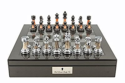 "Dal Rossi Italy Carbon Fibre Shiny Finish Chess Box 16"" with Metal Marble Chess Pieces"