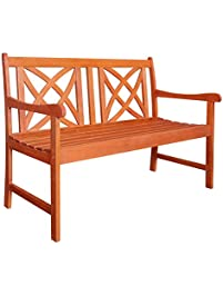 Vifah V1493 Outdoor Wood Garden Bench, 4 Feet