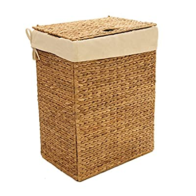 Seville Classics Foldable Water Hyacinth Portable Hamper - Handwoven Craftsmanship - Features tightly-woven water hyacinth wicker for an environmentally sustainable and totally unique piece of furniture Durable Removable Bag - Includes one thick canvas laundry bag capable of holding up to 3.1 cu. ft. of laundry Portable Foldable Hamper - Folds flat when empty for storage under the bed in your bedroom, or tucked into the closet - laundry-room, hampers-baskets, entryway-laundry-room - 51odgOw9gjL. SS400  -