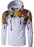 Men's Long Sleeves 3D Graffiti Hooded Hoodie Sweatshirt Jacket Outwear White