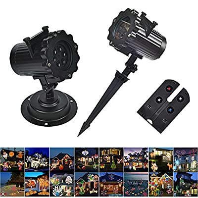 LUCKSTAR LED Projector Lights - 16PCS Switchable Pattern Waterproof Sparkling Rotating Spotlight Landscape Projection Light for Christmas Halloween Holiday (Black.)
