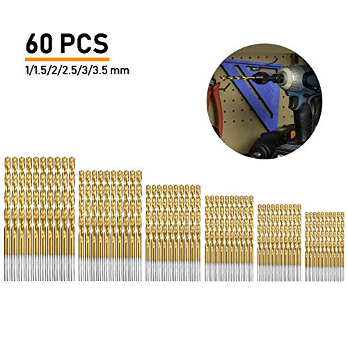 (Gizhom 60 PCS Twist Drill Bit Set, HSS Brad-Point Drill Bits, Titanium High Speed Steel Mini Drill Bit, Micro Precision 1/1.5/2/2.5/3/3.5 mm, Perfect for Wood Plastic Copper Aluminum Alloy)