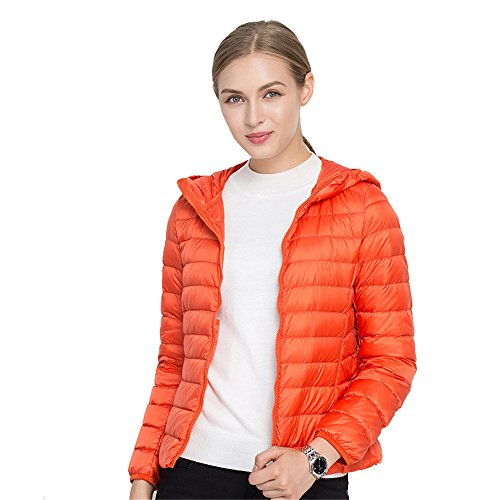 Quibine Ultralight Jacket Coat Down Hooded Women's Quilted Packble Down Orange qqCrwxg7