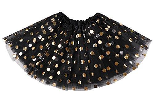 Jasmine Girls Tutu 4 Layered Tulle Polkadot Princess Dress Up Tutu Skirt, Black ()
