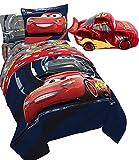 6pc Disney CARS 3 Boys TWIN SIZE REVERSIBLE Blue Comforter, ONE SHAM & Sheet Set + LIGHTNING McQUEEN (Chrome) PILLOW PAL!
