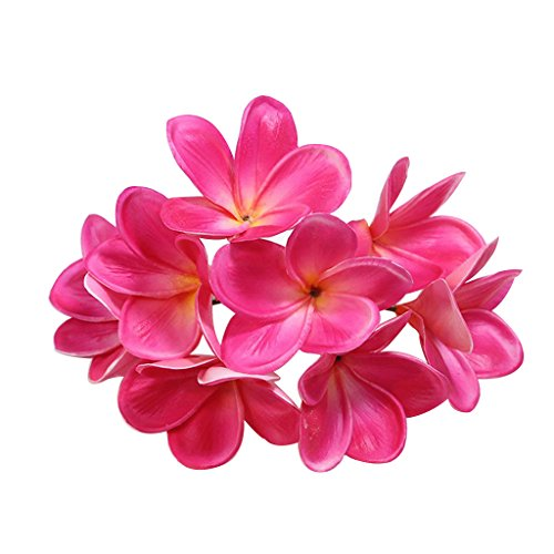 Bunch of 10 PU Real Touch Lifelike Artificial Plumeria Frangipani Flower Bouquets Wedding Home Party Decoration Mother's Day Gift (Rose Red)
