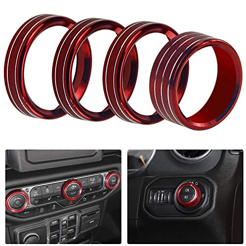 5pcs Audio Air Conditioning Button Cover Decoration Twist Switch Ring Trim for Jeep Wrangler JL 2018 2019 (Red)
