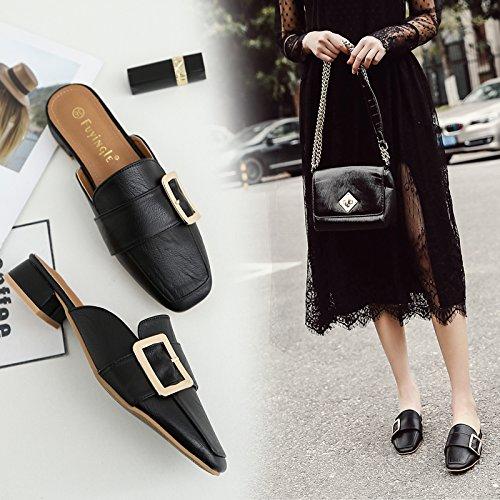Cabeza Con Perezoso La Y Moda Fuera black Mitad Lleva Con Otoño Mujeres KPHY Basta La Zapatillas Zapatos De q1w5tt