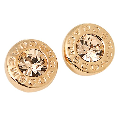 OPEN CIRCLE STONE STUD EARRING -ROSE GOLD- ()