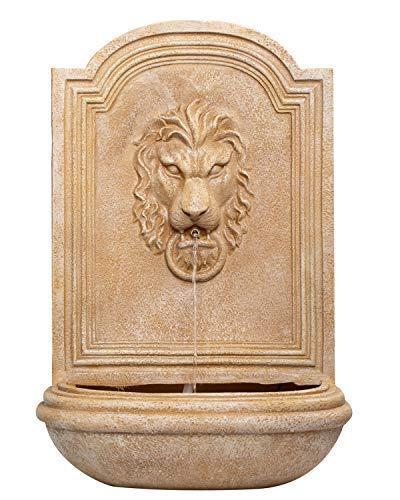 CYA-DECOR Outdoor Wall Mounted Fountains, Lion Head Wall Waterfall Fountain Indoor, 32 inches High