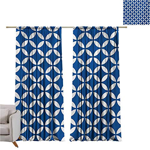 Anzhutwelve Navy,Room Divider Curtain Vintage Circles with Overlapping Rounds Oval Figures Old Fashion Graphic Art W108 x L84 Decorative Curtains for Living -