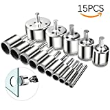 15 Pcs Tile Hole Saw,NOUVCOO Diamond Hollow Core Extractor Remover Tools for Marble,Ceramic,Glass,Porcelain,Granite Stone Drill Bits 6-50mm (NC14-US)