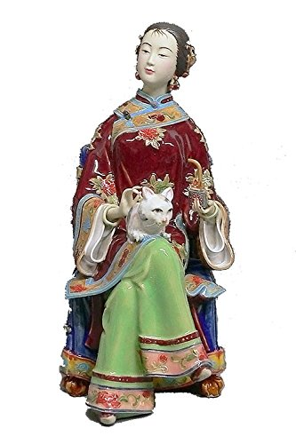 - Handmade Delicate Chinese Procelain Figurine Ancient Chinese Lady with Lovely Cat
