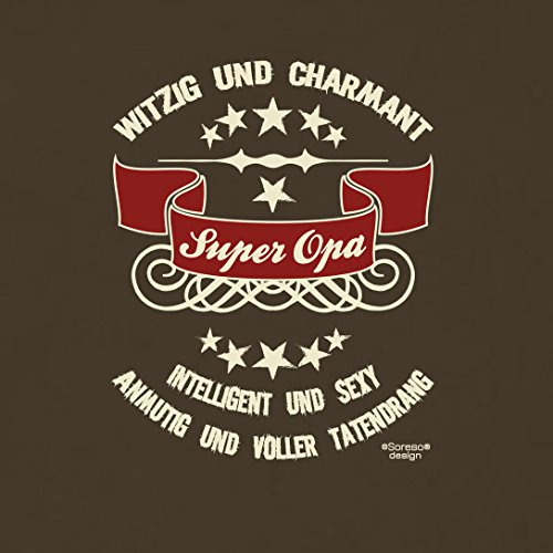 Großvater Fun-T-shirt als Top Geschenk mit GRATIS Urkunde - Super Opa Farbe: braun Gr: M