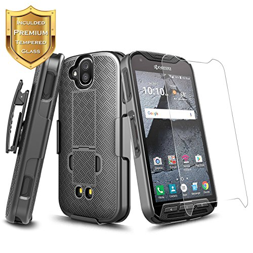 DuraForce Pro Case with [Tempered Glass Screen Protector], NageBee Super Slim Case w/Built-in Kickstand [Belt Clip] Holster Combo Case for Kyocera Duraforce Pro (E6810,E6820,E6830,E6800,E6833) -Black from NageBee