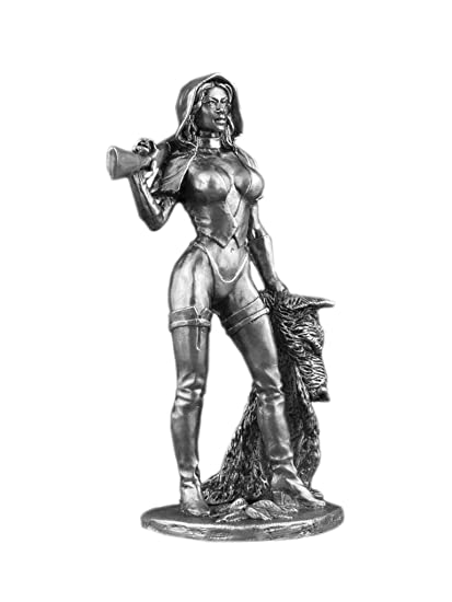 Red Riding Hood Female statue UnPainted Tin Metal 75mm Red Cap Action  Figures Girl Toy Soldiers Size 1/24 Scale for Home Décor Accents  Collectible