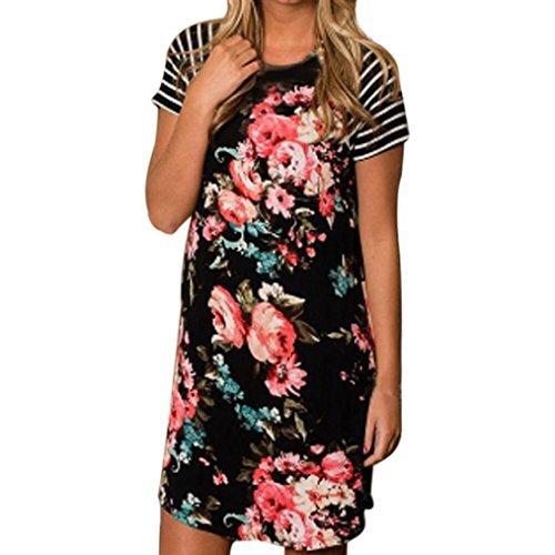 Kleid Transer® Damen Kurzschluss-Hülse Kleider Draußen Drinnen Baumwollmischung Drucken Blume Schwarz Minikleid sKfMgSwh7