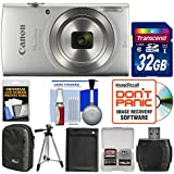 Canon PowerShot Elph 180 Digital Camera (Silver) with 32GB Card + Case + Battery + Tripod + Kit