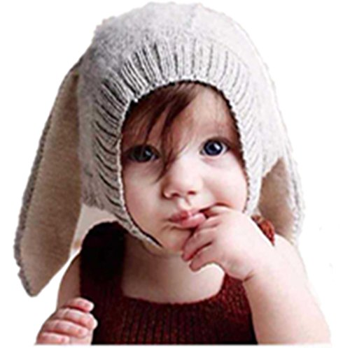 [Malltop Baby Rabbit Ear Beanie, Toddler Cute Winter Warm Knitted Crochet Hat] (Joe Child Costumes Gloves)