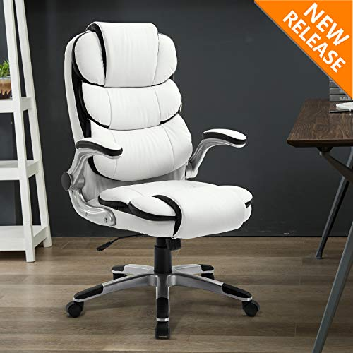 B2C2B High Back Ergonomic Home Office Chair – Leather Computer Executive Desk Chair Modern Racing Chair Adjustable with Flip-up Arms Lumbar Support 300lbs White