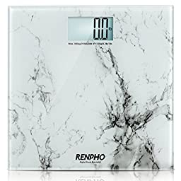 RENPHO High Accuracy Digital Bathroom Scale 400lb 180kg with Elegant Marble Pattern