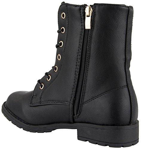 Damen Sommer Schnür Biker Boots Stiefeletten mit Nieten schwarz Schwarz