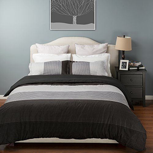 Bedsure Duvet Cover Set with Zipper Closure-Black Stripe Design Printed Pattern Reversible,Full/Queen (90