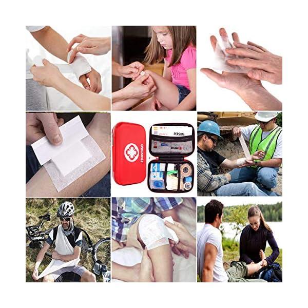 HONYAO Botiquín de Primeros Auxilios, Mini Kit de Supervivencia - Bolsa Médico de Emergencia Completo para Coche Barco… 14