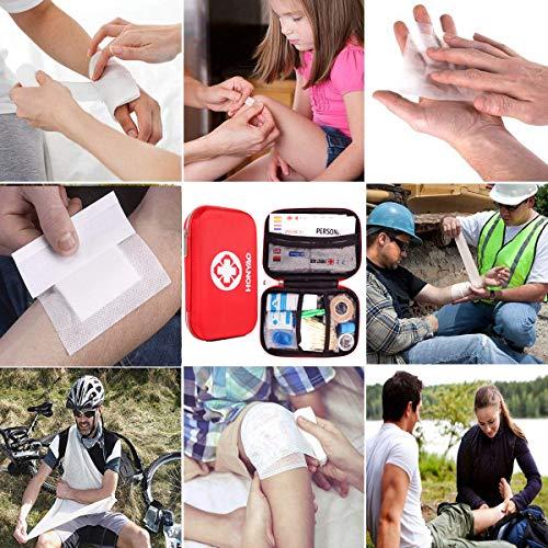 HONYAO Botiquín de Primeros Auxilios, Mini Kit de Supervivencia - Bolsa Médico de Emergencia Completo para Coche Barco Motocicleta El Hogar Lugar de Trabajo Mochila y Acampar Senderismo Viaje 13