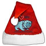 I Love My Portuguese Water Dog Christmas Hat Velvet Santa Hat S Size For Kid,M Size For Adult