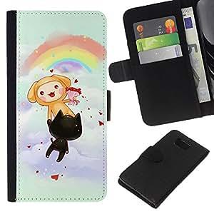 JackGot ( Carino Arcobaleno Gatti Partito ) Samsung ALPHA G850 la tarjeta de Crédito Slots PU Funda de cuero Monedero caso cubierta de piel