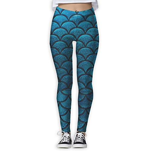 Women's Girl Blue Fish Scale High Waist Casual Leggings Tights Yoga Pants Running Pants Stretchy Sport Pilates Workout Long (After Halloween Candy Sale Best)