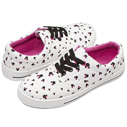 Disney Minnie Mouse Silhouette AS A Polka Dot Print Fashion Lace UP Sneaker Pink Multi (Mouse Shoe Charms)