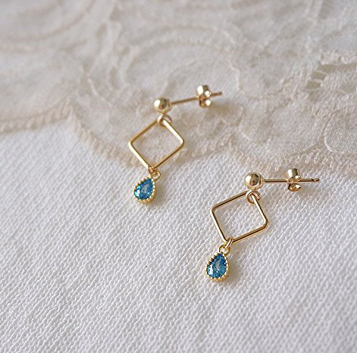 Customized Earring Blue Zircon Geometric Drop Diamond-shaped 14K Gold-Plated